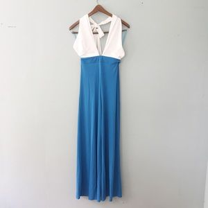 Alythea blue and white halter jumpsuit S/M/L